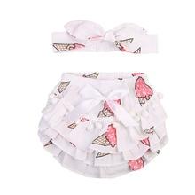 Newborn Baby Girls Lace Ruffle Shorts Pants Nappy Cover Panties+ Headband Clothing Sets