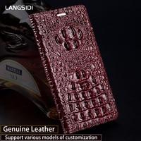 Luxury Genuine Leather Flip Case For Xiaomi Redmi Note 2 Case 3D Crocodile Back Texture Soft