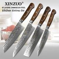 4 قطعة xinzuo دمشق سكاكين المطبخ سكين الشيف روزوود مقبض الفولاذ الصلب الجدول السكاكين السكاكين santoku سكينة