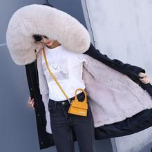 parka womens real fur jacket women coat natural fox collar loose long parkas big outerwear Detachable Rex