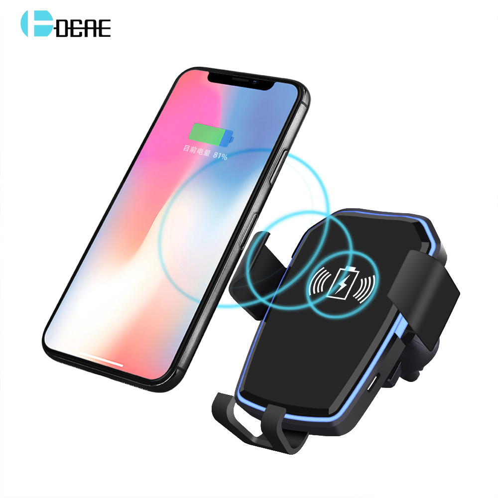 DCAE Qi Wireless Car Charger Holder Quick Fast Charging for iPhone 8 X XS MAX XR Samsung S9 S8 Note 9 8 Gravity Air Vent Stand