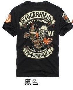 2016 Brand fashion Design Skull Printed Two Wheel Stock Rider Men Vintage Rock Roll Harley Punk Band T-shirt Plus Size Shirt 3XL