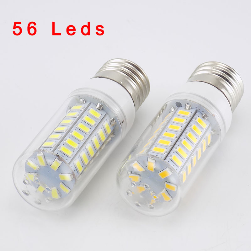 220V 56 LEDS Lamp Corn Bulb lights Lamparas SMD 5730 Lampada warm white E27 Bombillas candle light E27 Ampoule led Light Bulbs