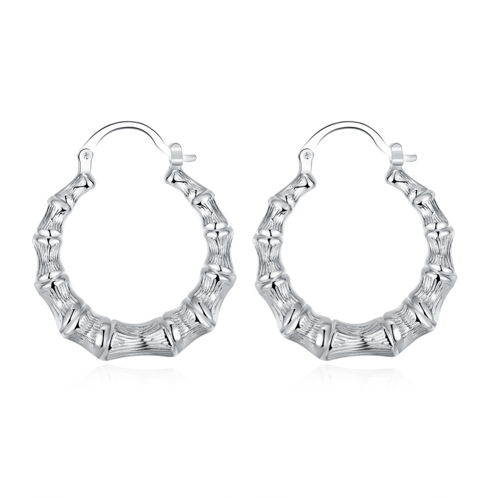 Simple Basketball Wife Fashion Jewelry Silver Plated Women Party Casual Girls Club Hoop Earring Bamboo Joint Loop Earings Bijoux