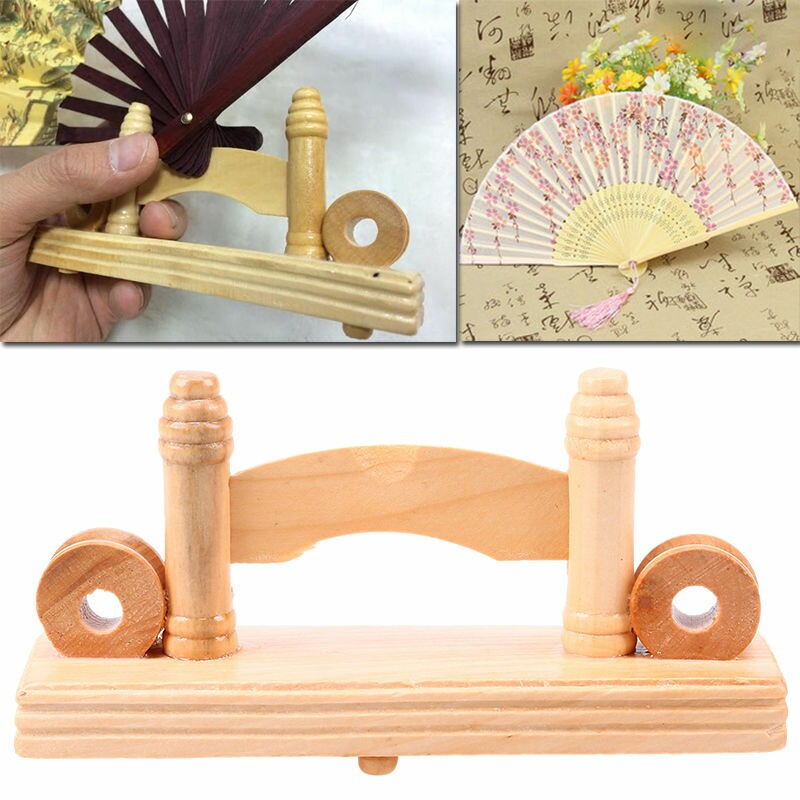 Wooden Hand Folding Fan Stand Display Holder Home Office Table Decoration  14cm(China (Mainland