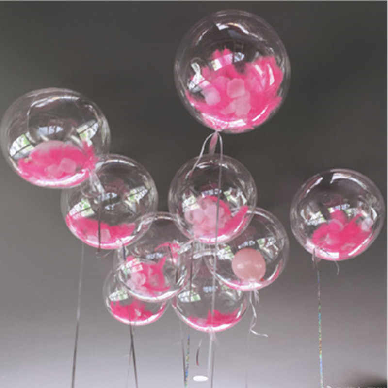 DIY Wedding Birthday Party Decoration Balloons Bobo Feather Transparent Clear Balloon Helium Inflatable Air PVC Balls