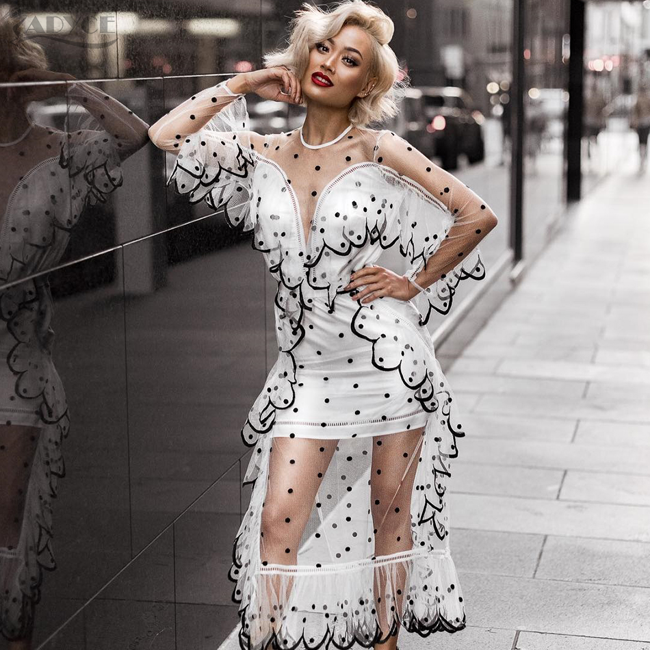 ADYCE 2018 Polka Dot Women Dresses Elegant Sheer Dot Lace Mesh Dress Sexy White Black Celebrity Evening Party Dresses Vestidos sheer mesh polka dot pants