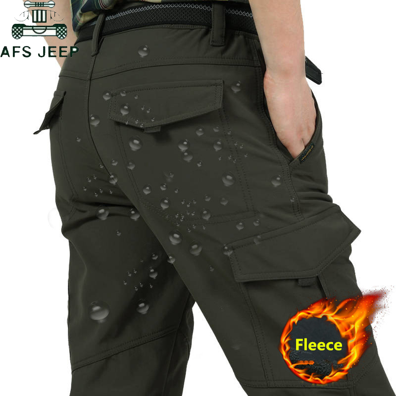 Mens Winter Thick Warm Cargo Pants Casual Fleece Multi-pocket Long Trousers Waterproof Loose Baggy Jogeer Pants Pantalon Homme