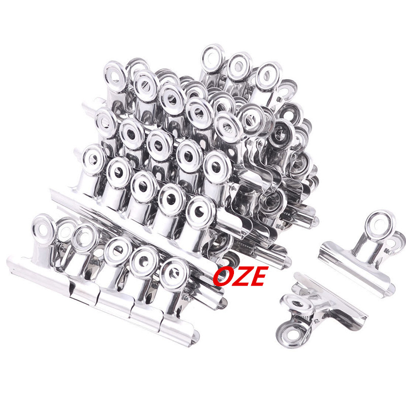 60Pcs Children Exam Paper File Stainless Steel 5cm Width Binder Clips Clamp stainless steel file binder clips set 12 pcs