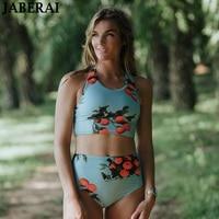 JABERAI Women High Neck Bikini 2018 Green Leaf Print Bandage Swimsuit Bikini Set Stripe Beach Bathing