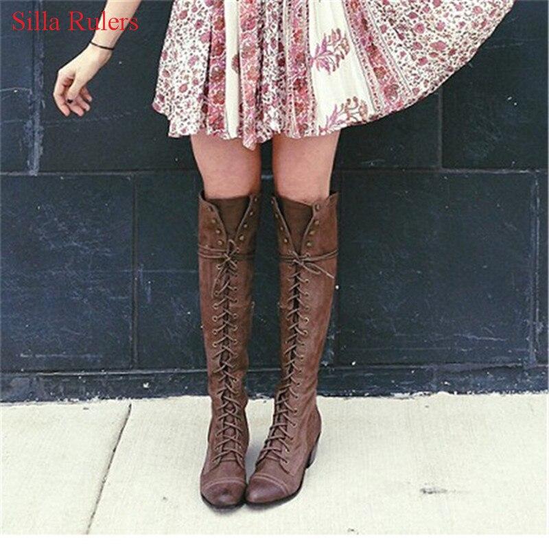 Классические женские ковбойские сапоги на среднем каблуке; цвет серый, черный; осенне зимние сапоги в стиле ретро; сапоги до колена на шнуро