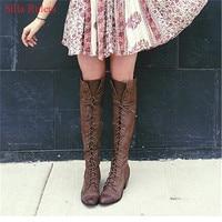 Классические женские сапоги в ковбойском стиле на среднем каблуке серого и черного цвета, осенне зимние сапоги в стиле ретро, сапоги до коле