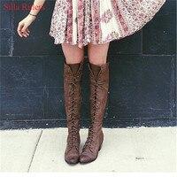 Классический средний каблук серый черный кожаные ковбойские Для женщин Сапоги и ботинки для девочек ретро ботинки осень зима сапоги до кол