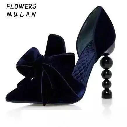 Luxury Velvet Upper Blue/ Printing Silk Upper Women High Heels Shoes Pointed Toe Strange Beading Heel Butterfly knot Party Shoes