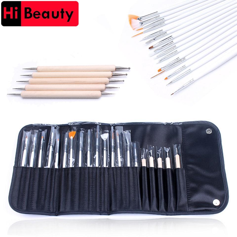 20pcs/kit UV Gel 5pcs Point Drill Painting Pen Dotting Pen 15pcs Nail Art Brushes Set For Salon Manicure DIY Nail Tools With Bag