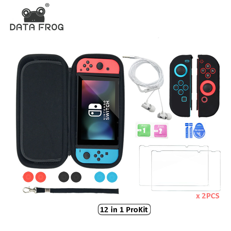 12 in 1 HD Tempered Glass Screen Protector for Nintend Switch +Carry Case Cover For NS Storage Bag With 6pcs Silicone Caps