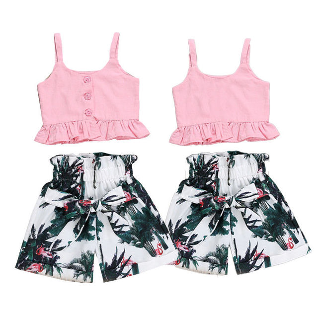 Brand 2019 New Summer Casual Children Sets Rainforest Pink Tank+ Short Pants Girls Clothing Sets Kids Summer Suit For 2-6 Years