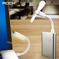 ROCK 3 In 1 Led Lamp Mini USB Fan Charging Micro USB Cable All In One
