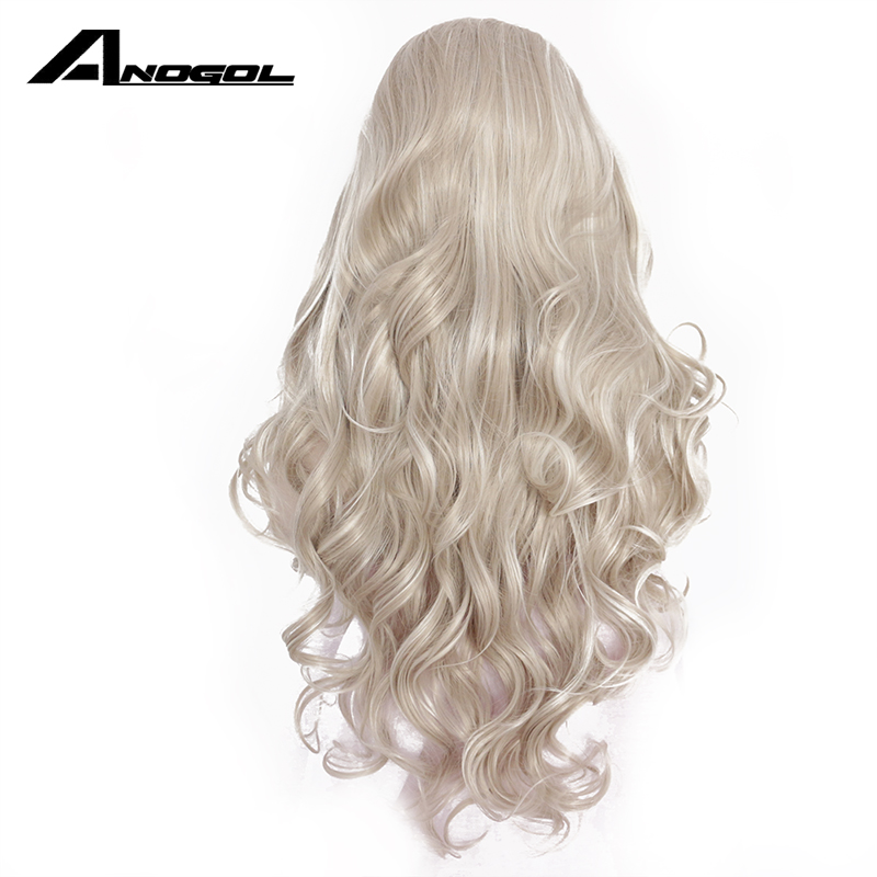 Anogol High Temperature Fiber Perruque Frontal Wigs Silver Grey Long Body Wave Synthetic Lace Front Wig For White Women Cosplay