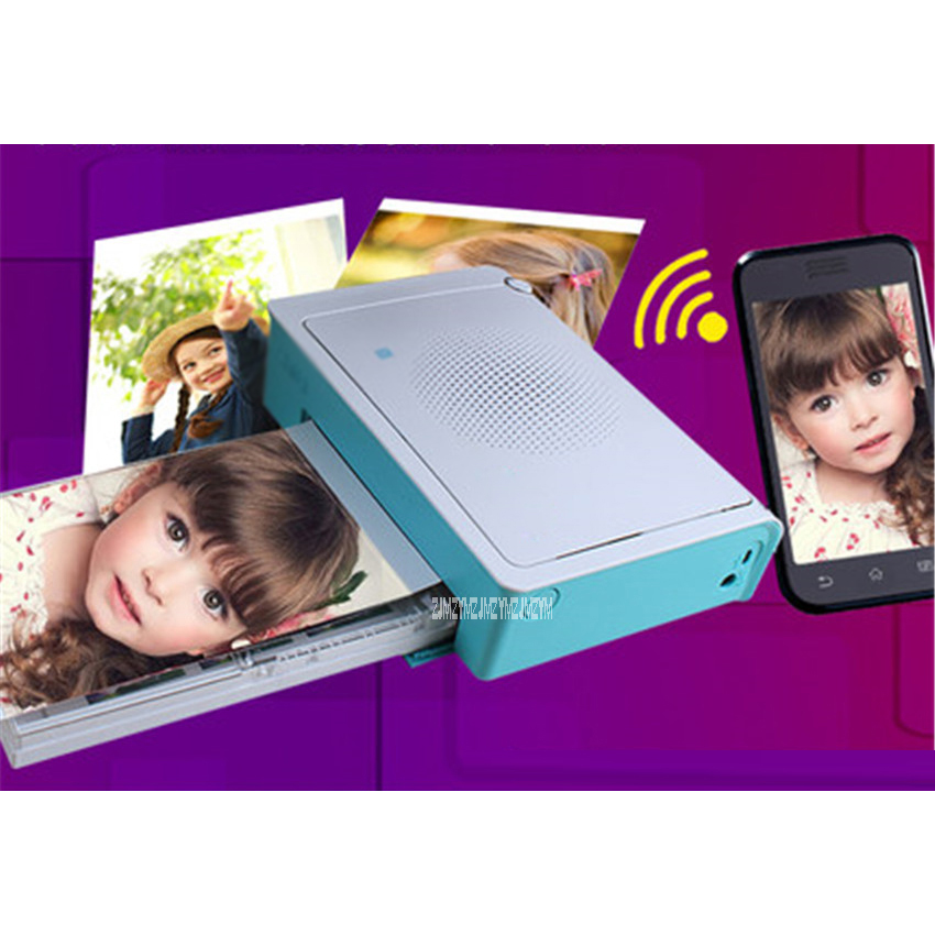 220V Portable Mini Pocket <font><b>Photo</b></font> <font><b>Printer</b></font> Wireless Bluetooth Support Android iOS <font><b>Smartphone</b></font> Color Printing Blue Print speed 50s