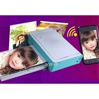 220V Tragbare Mini Tasche Foto Drucker Drahtlose Bluetooth Unterstützung Android iOS Smartphone Farbe Druck Blau Druck geschwindigkeit 50s
