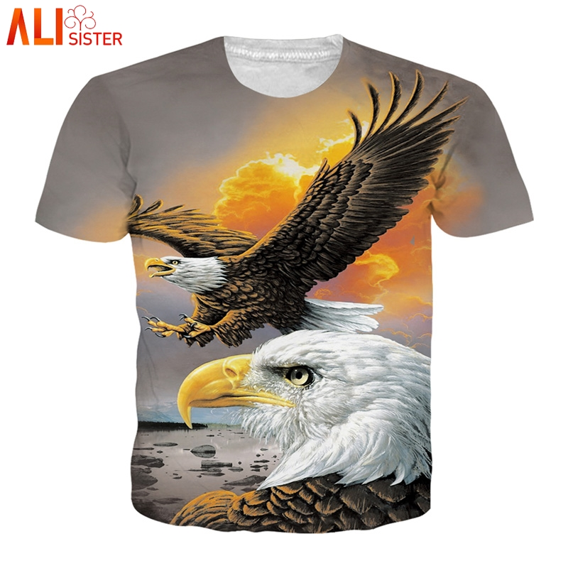 Alisister Animal   T     Shirt   3d Eagle Lion Wolf Owl Print Summer   T  -  shirts   Men Women Plus Size Tee   Shirt   Homme Camiseta Dropship