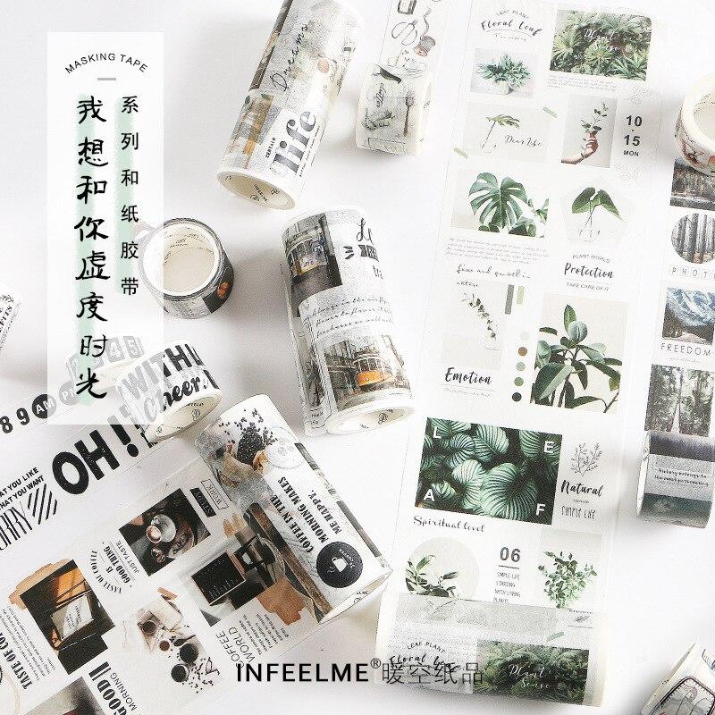 22Designs Washi Tape Retro Logo/No./Calendar/Weather Japanese Decorative Adhesive DIY Masking Paper Tape Stickers Label INFEELME
