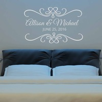 Wedding Ceremony Date Lettering Wall Stickers Custom Name Love Quotes Wall Decals Wallpapers Wall Decal Home Decors 634C
