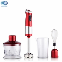 700W 4 In 1 Electric Food Hand Blender Mixer Whisk Chopper Jug Cup Processor Red 304