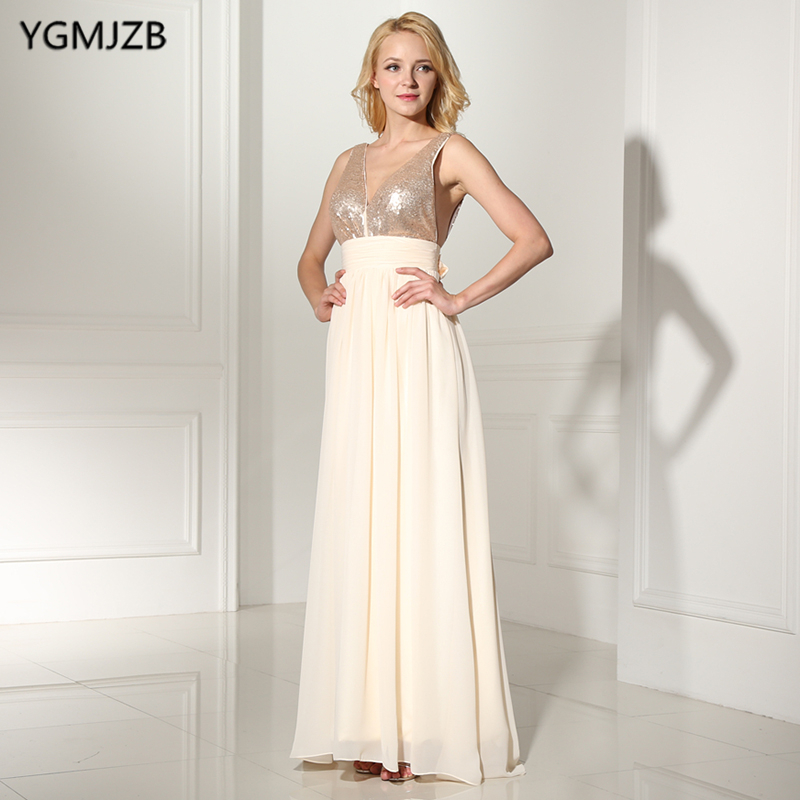 Cheap   Bridesmaid     Dresses   2019 A Line V Neck Sequined Top Floor Length Chiffon Wedding Party   Dress   Backless Long   Bridesmaid     Dress
