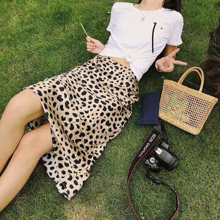 100% шелк атлас юбка Naomi Дикие Вещи 3/4 длина скольжения стиль юбка леопардовая Печать юбка Naomi скольжения - 3