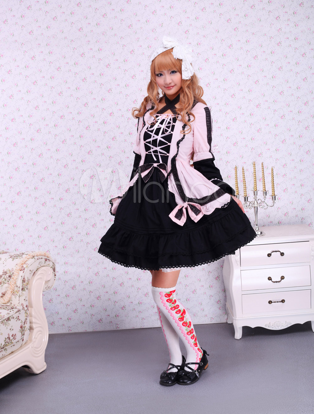 Cute Lace Up Cotton Pink and Black Gothic Lolita Dress gothic and lolita