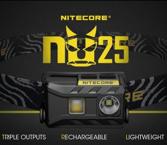 NITECORE NU25 Triple Output  headlamp Triple Output USB rechargeable and light weight 360 Lumens update of NU10 NU20 NU30 NU05