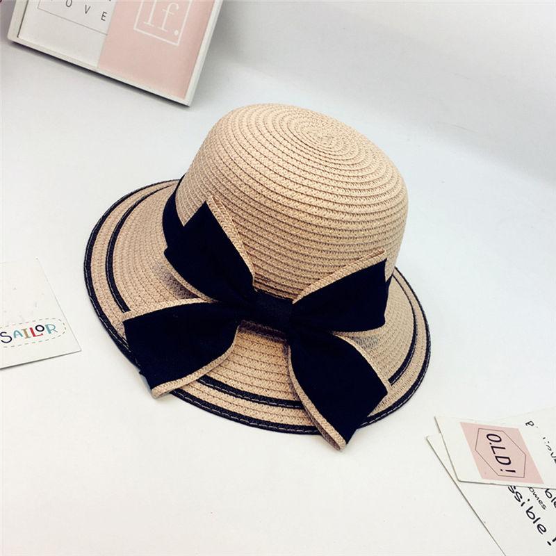 New Women Summer Parent-child Women Casual Daily Baby Kids Girl Beach Bow Straw Flat Brim Sun Hat Cap #4F09 (12)