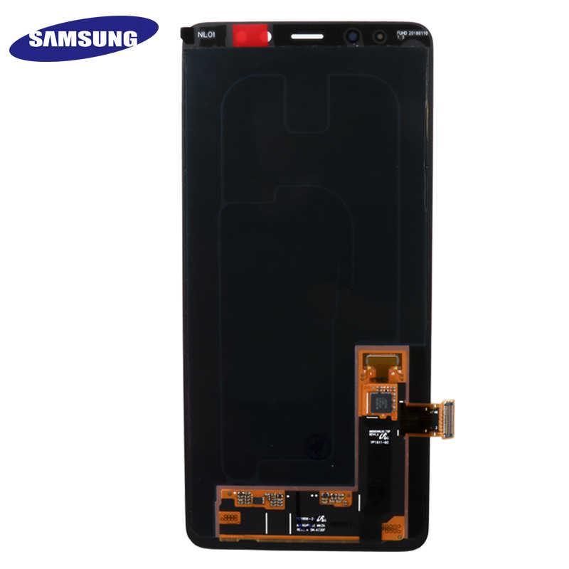 100% الأصلي AMOLED عرض شاشات lcd لسامسونج غالاكسي A8 زائد 2018 A730 شاشة إل سي دي باللمس شاشة قطع غيار محول رقمي يمكن ضبط