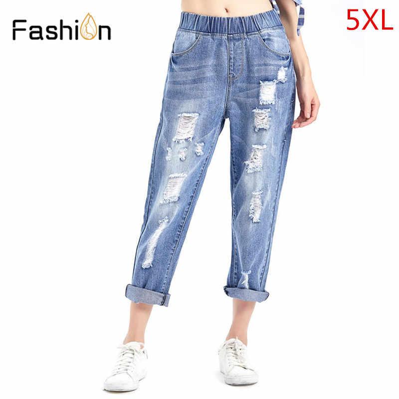 2b707f57912 2018 женские джинсовые шаровары Рваные Джинсы бойфренда женские рваные  джинсы для женщин модные свободные женские джинсы