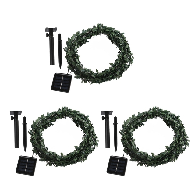 100 LED Solar Power Waterproof Leaf Garland Copper Wire Fairy String Light  Christmas Wedding Party Decor Images