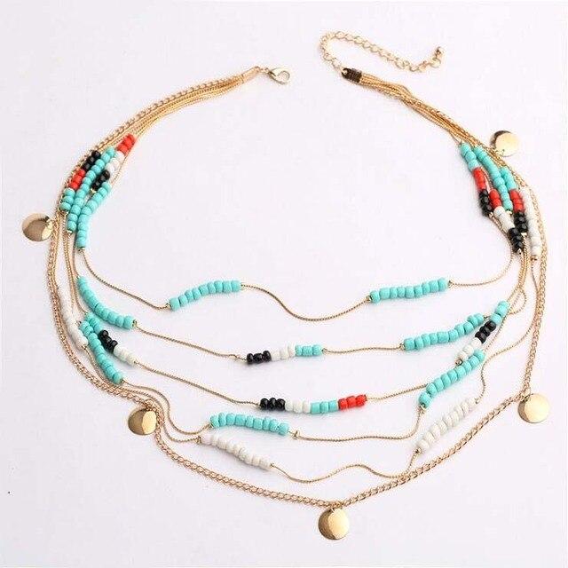 667f4ad502f0 Moda Mujer Bohemia del grano cadenas collares nueva Multilayer collares  accesorios cuerpo joyería Mujer Bijoux