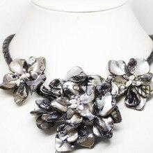 Милое культивированное жемчужное ожерелье в стиле барокко с тремя ракушками цветочное ожерелье ручной работы для женщин черное кожаное ожерелье ювелирные изделия из бисера