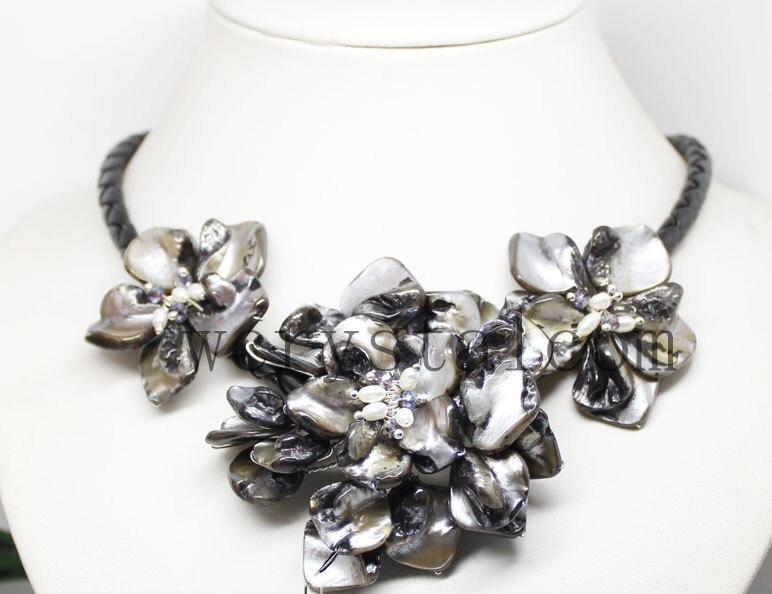Libérez Le Bateau Belle Baroque de Culture Perle Trois Shell Fleur Floral Collier Fait Main pour les Femmes Noir En Cuir de Perle de Foulard Bijoux