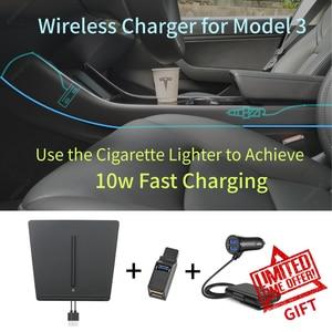 Image 3 - עבור טסלה דגם 3 Y נייד טלפון אלחוטי טעינת Pad Dock אביזרי מרכז קונסולת מטען שימוש מצית עבור iPhone