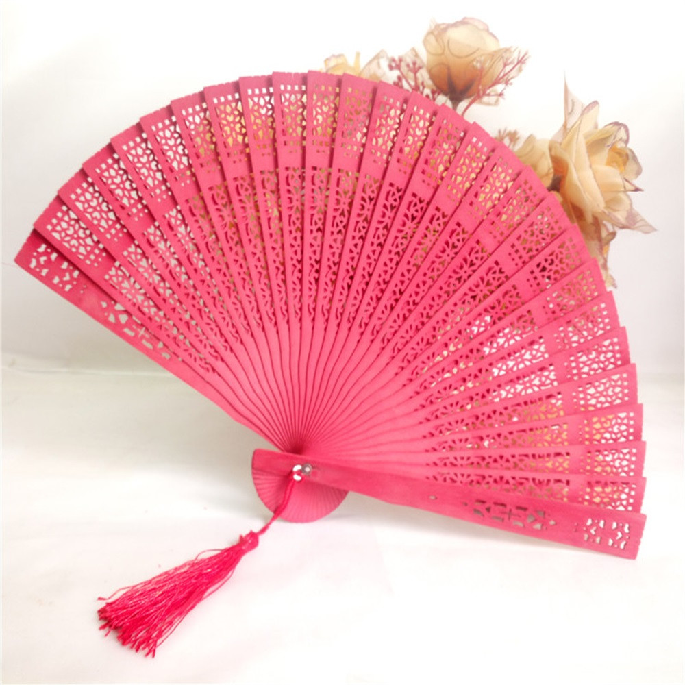 Fragrant Wood Engraving Chinese Fan Classic Elegant Wedding Hand Fragrant Party Fans Carved Bamboo Folding Wooden Chinese Fan
