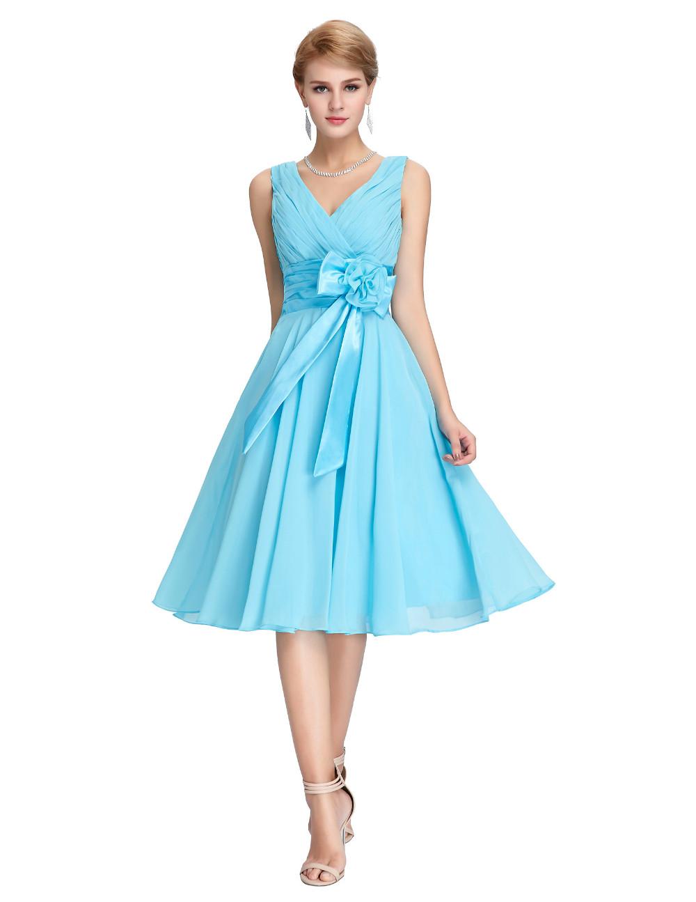 HTB1KNzYMVXXXXcJXFXXq6xXFXXX3Knee Length Short Chiffon Blue Dress