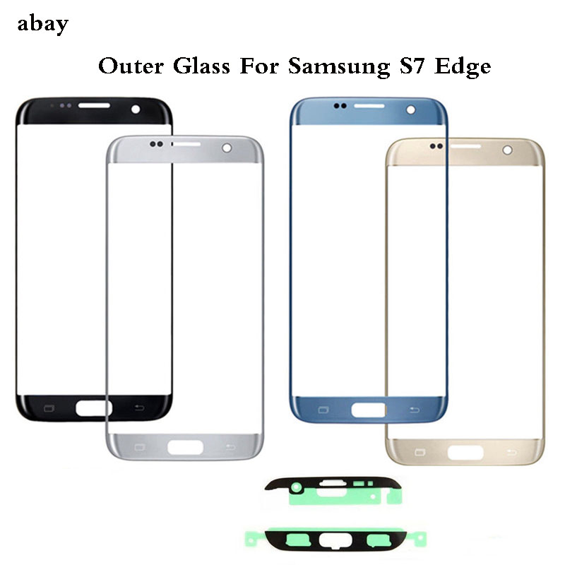 S7 S6  EDGE Front Outer Glass Lens Cover Replacement For Samsung Galaxy S6 S7 Edge G925 G935 G935F G935FD LCD Glass+Adhesive