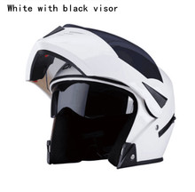 white Motorcycle Full Face Helmet Safe Flip Up Motorcycle Helmet With Inner Sun Visor Black Motorcycle Racing Off Road Helmet