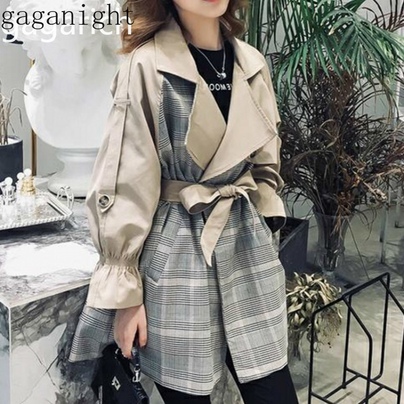 Gaganight Plaid Women   Trench   Coat 2019 New Autumn Winter Fashion Korea Long Coat Patchwork Sash Single Breasted Outwear Casual