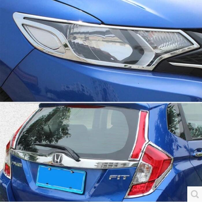 JINGHANG ABS Chrome Car Front Headlight + Rear Tail Light Lamp Cover Trim For Honda FIT JAZZ 2015 2016 2017 2018|Chromium Styling| |  - title=