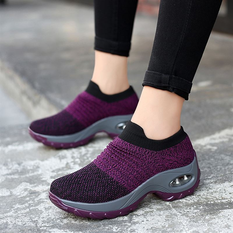 Women Tennis Shoes 2019 Female Gym Sport Shoes Stability Breathable Mesh Air Cushion Thick Sole Trainers Women Tennis Shoes