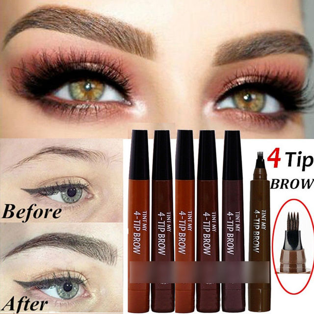 9 Colors 4 Head Henna Eyebrow Marker Pencil Microblading Liquid Eye Brow Pen Eyebrows Shades Makeup Sourcil Eyebrow Tint Tatto Pencil Eyebrow Henna Makeup Tools