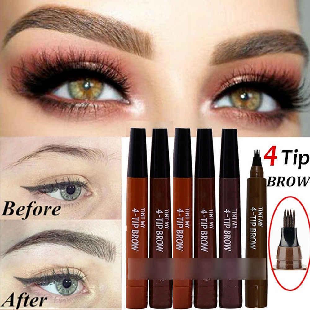 9 renkler 4 Kafa Kına Kaş Işaretleyici Kalem Microblading Sıvı Göz Kaş Kalem Kaşları Tonları Makyaj Sourcil Kaş Tonu Dövme kalem Kaş Kına Makyaj Araçları